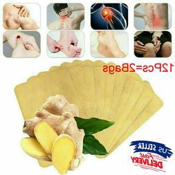 12Pcs Ginger Detox Patch Body Neck Knee Pad Herbal Pain Reli
