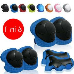 6PCS Skating Protective Gear Sets Elbow Knee Pads Bike Skate