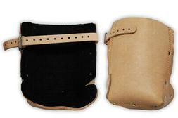 """7.5"""" X 3.5"""" Tan Leather Knee Pads With 12"""" Adjustable Buckle"""