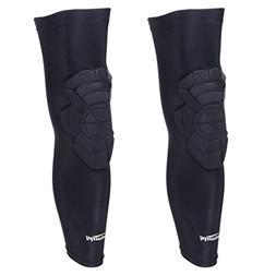 COOLOMG Basketball Leg Knee Long Sleeves EVA Pads Crash Proo