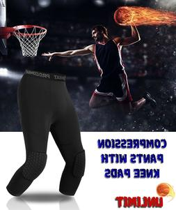 Basketball Pants with Knee Pads, Black, 3/4 Capri Compressio