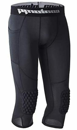 COOLOMG Basketball Pants with Knee Pads for Kids Youth 3/4 C
