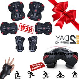 BMX Bike Knee Pads and Elbow Pads with Wrist Guards Protecti