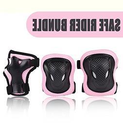 Kuxuan Girl's Cira Pink Protective Gear Set Including Knee P