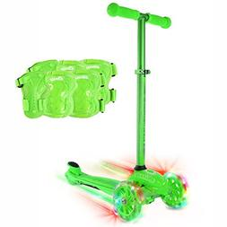 Crazy Skates GLO Green 3-Wheel Scooter for Kids with LED Lig