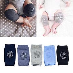 IUME Baby Crawling Anti Slip Knee Pads 5 Pairs, Black, Blue,