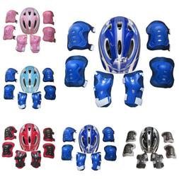 Kids Boys Girls Safety Helmet & Knee & Elbow Pad Set For Cyc
