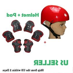 Kids Girls Helmet+Wrist Elbow Knee Protective Guard Gear Pad