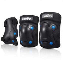 KUYOU Kids Protective Gear Knee Pads Elbow Wrist Guards 3 In