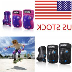 KUYOU Kids Protective Gear Knee Pads Elbow Wrist Guards BMX