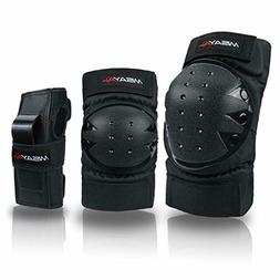 Knee Pads Elbow Pads Wrist Guards 3 in 1 Protective Gear Set