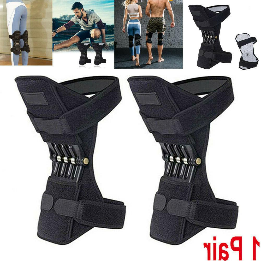 2x Joint Support Brace Knee Pads Squat Sports Power Spring Force