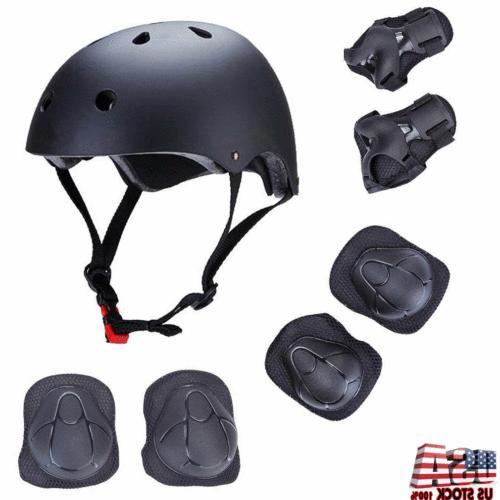 7pcs skateboard helmet wrist elbow knee pad