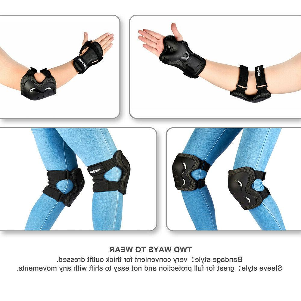 BMX Bike Knee and Pads with Wrist Guards Gear for