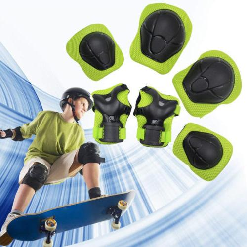 green kids protective gear knee pads elbow