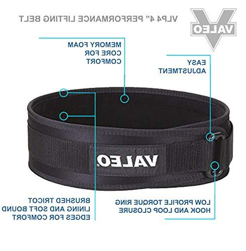 Valeo Industrial VLP4 Low Back Support Belt, VA4684, Black,