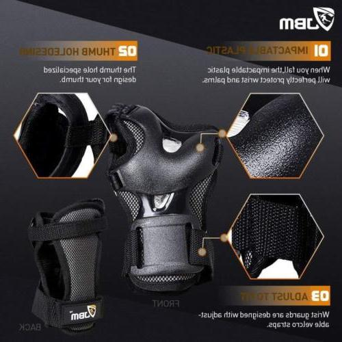 JBM Bike Pads and Wrist Guards Protective Gear Set for...