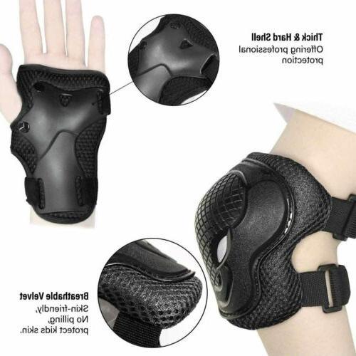 6Pcs Elbow Wrist Knee Pads Guards For Kids Skate Cycling Bik