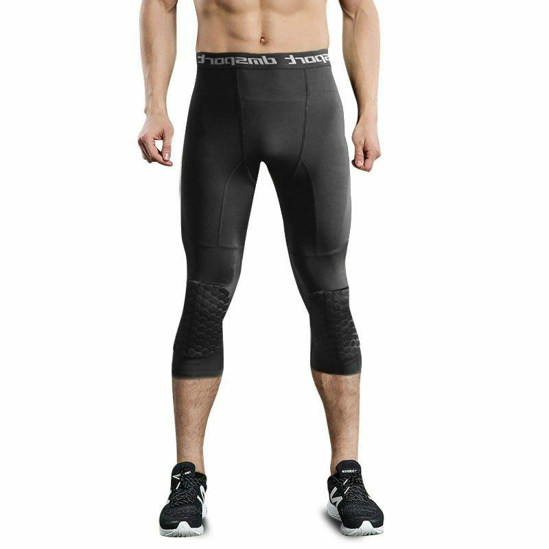 Men's Basketball Compression Padded Tights Three-Quarter Pan