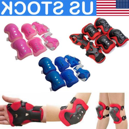 Set of  6 Knee Elbow Hand Protector Pad Skating Cycling Spor
