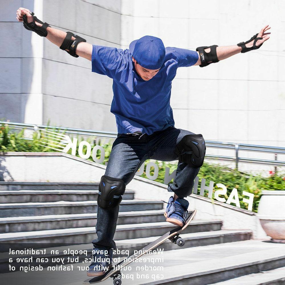 6 Pcs Protective Gear Elbow Knee Pads Blades Guard Skating Bike