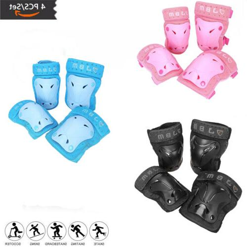 Skating Protective Gear 4 Sets Elbow Knee Pads Bike Skateboa