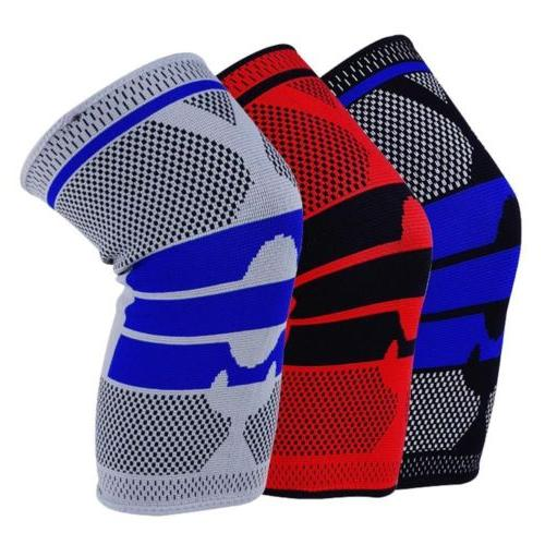 US Sports Silicone Gel Knee Pads Support Brace High Compress
