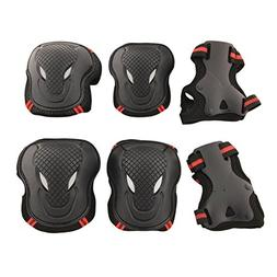 Physport Red Safety Protective Gear Keen,Elbow,Wrist 6 pcs S