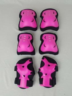 Enilecor Pink Elbow Wrist Knee Pads Inline Skating Roller Bl