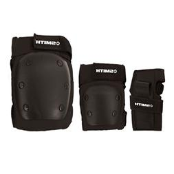 Smith Safety Gear Scabs Knee/Elbow/Wrist Guard Set , Black,