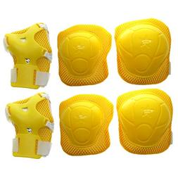 Children Skating Sports Wrist Elbow Knee Pad Guard Yellow