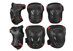 Teens Knee Elbow Wrist Braces Pads Set Reflective Adjustable