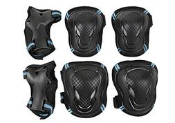 Men Women Adults Knee Elbow Wrist Braces Pads Set Reflective