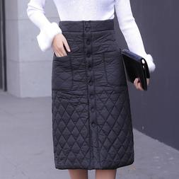 Winter Skirt down cotton-<font><b>padded</b></font> solid A-