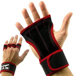 Gym Padding Gloves for WODs, Pull Ups - Leather Workout Glov