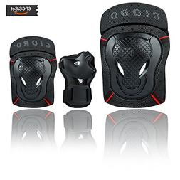 GIORO Youth/Adult Knee Pads and Elbow Pads Set with Wrist Gu